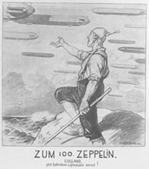 World War I propaganda forewarning England of Germany's Zeppelin fleet, from issue 3691 of Fliegende Blätter (1916). From CRL collections.