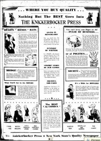 Front page of Knickerbocker Press