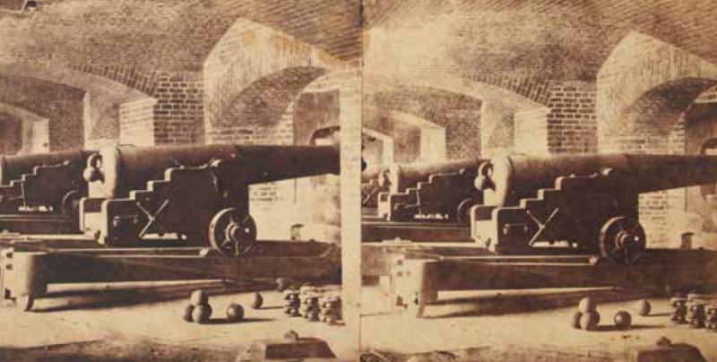 "From the ""Civil War Day by Day"" website: stereo views depicting the interior of Fort Sumter following the April 14, 1861, surrender of the fort. These pictures are attributed to the Charleston photographic establishment of ""Osborn & Durbec's Southern Stereoscopic and Photographic Depot,"" operated by James M. Osborn and F.E. Durbec."