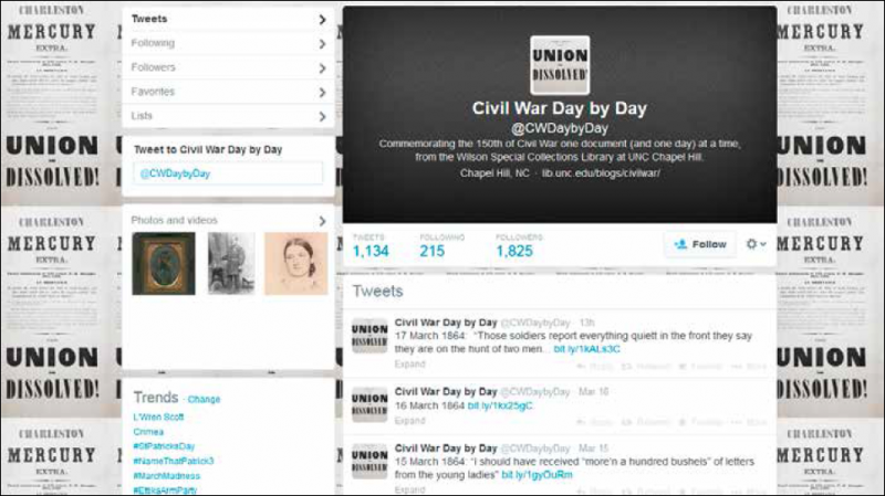 The @CWDaybyDay Twitter feed offers daily statements from Civil War soldiers 150 years ago.