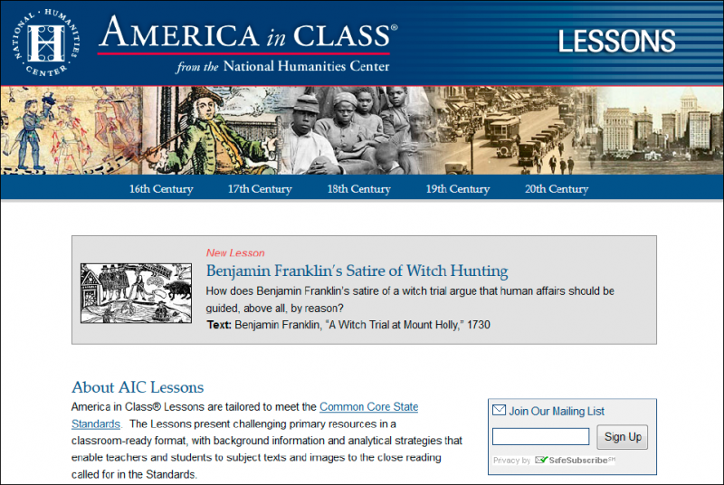 Each America in Class Lesson on the National Humanities Center website is built around a framing question, an essential understanding, and a single primary resource or a small manageable set of resources. AIC Lessons are webbased and optimized for mobile devices. Image courtesy of the National Humanities Center.