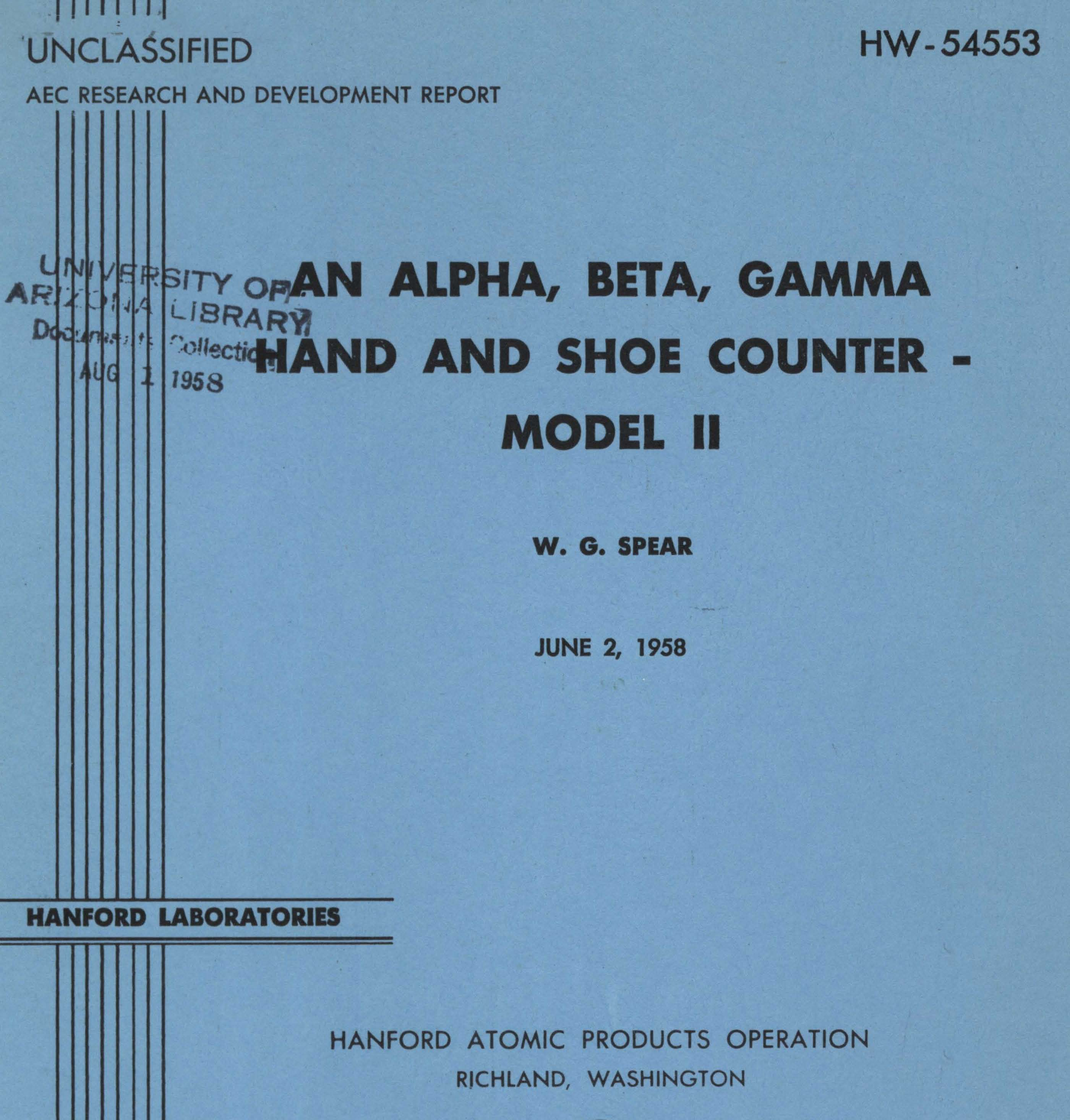 Atomic Energy Commission Reports Digitized By Trail An Alpha Beta Gamma Hand And Shoe Counter 1958